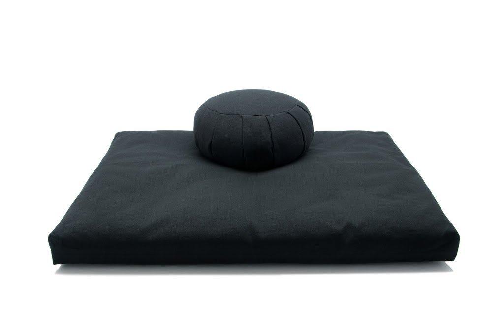 デラックスZafu &座布団2 Pieceセット – ヨガ/瞑想クッション – Made in USA – BuckwheatまたはKapok Fill B00UA1YPR8 kapok fibers ブラック ブラック kapok fibers