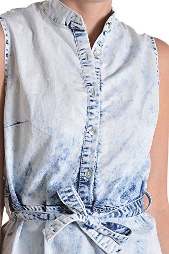 Boutonné Lavage Acide American Femmes Bazi Robe Sans Manches Ajd505 - D10g De Bleu Glace