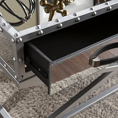 Southern Enterprises Lazio Mirrored 2 Drawer Cocktail Table, Silver Mirror Finish with Matte Silver Trim