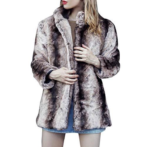 Solide Casual Hiver Marron Fourrure Fausse Femmes Blouse Outwear Chic Trydoit Couleur Encoche Manteau Automne 5EZWq1w