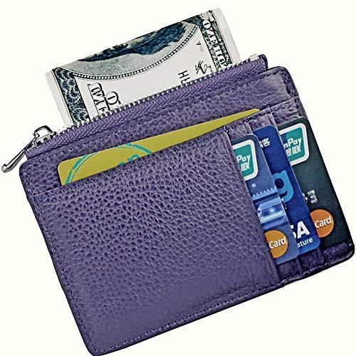 - Cowhide Leather Wallet Vintage Slim RFID Blocking Minimalist Credit Card Holder Wallets for Men and Women (Light Brown)