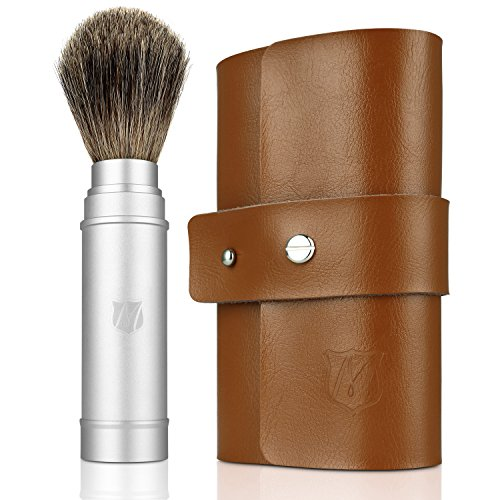 Miusco Badger Hair Shaving Brush Travel Kit with Leather Case (Kit Travel Case)