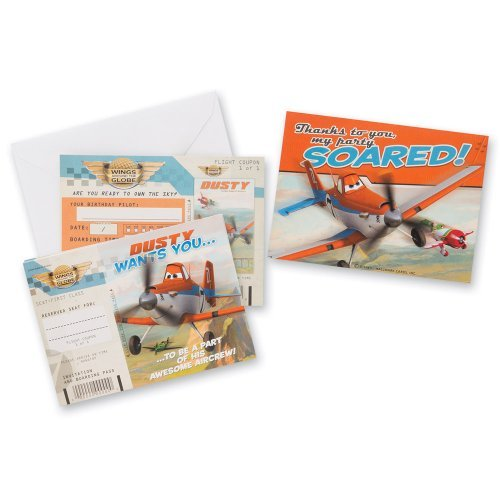 Disney Planes Invitations & Thank-You Cards - Birthday & Theme Party Supplies - 8 each per pack Disney Birthday Invitation Cards