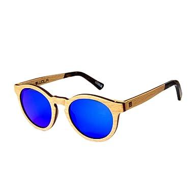 WOLA Damen Sonnenbrille Holz BAUM Brille rund Vollholz und Acetat polarisiert UV400 Birke blau verspiegelt Unisex Damen M - Herren S 9vo80uMiK