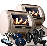 2018 New Tan/Beige Digital Color Pair Headrest With 9″ LCD Car DVD Player Monitors with Dual DVD players USB SD Inc. 2 Wireless Dual Channel Headphones, Games and 2 Wireless game controllers