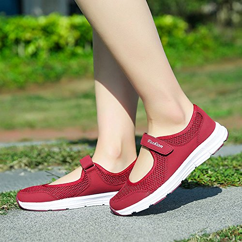 Argent Fitness Superstar Beautyjourney Chaussures Glissade Anti tennis Femmes Sport Blanche Femme Vin Rouge De Running x7I8qr7