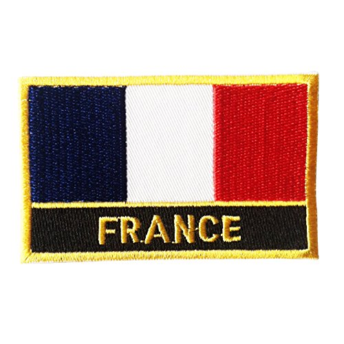 France Flag Patch / Françaisl Drapeau Embroidered Tactical Pièce with Golden Border (French Iron-on w/ Words, 2