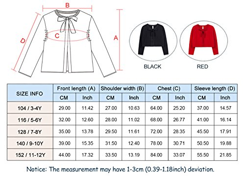 Benito & Benita Girl's Sweater Crew Neck Cardigan Long Sleeve Cotton Sweater with Bows Black/Red for 3-12Y by Benito & Benita (Image #6)