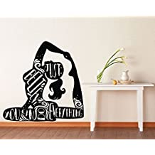 Motivational Vinyl Wall Decals Inspirational Quotes Girl Yoga Just Believe You Can Do Everything Sign Words Decor Stickers Vinyl Murals MK2095