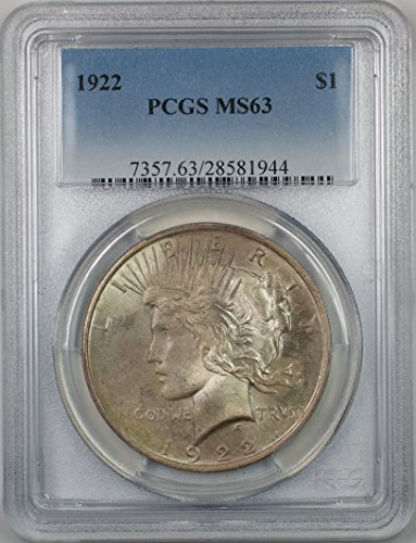 1922 Peace Silver Dollar Coin $1 PCGS MS-63 (1D) Toned