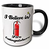 3dRose 105158_4 I I Believe In Fire Extinguishers Two Tone Black Mug, 11 oz, White