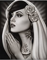 6e0661022 Black Market Art Tattooed Mary Spider Mexican Tattoo Praying Virgin Pinup  Girl Fine Art Print
