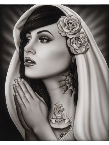 Black Market Art Tattooed Mary Spider Mexican Tattoo Praying Virgin Pinup Girl Fine Art Print