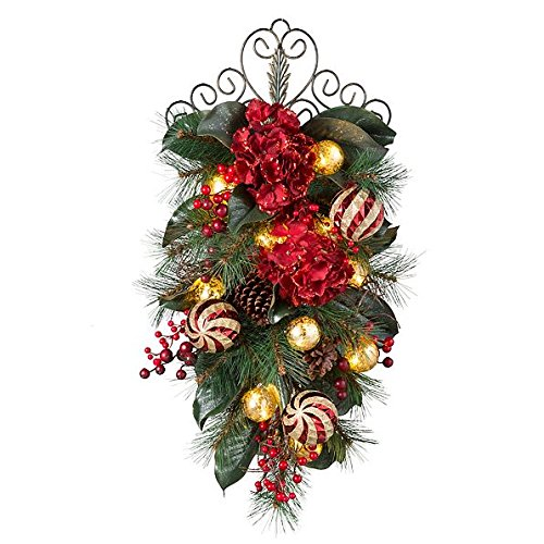 Pre-Lit Holiday Hydrangea Teardrop Christmas Swag - 28'' by Improvements