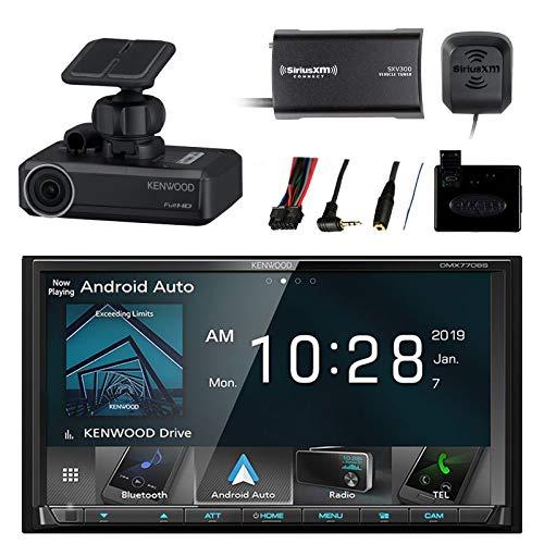Car Audio Package: Kenwood 2-DIN Receiver w/Bluetooth & HD Radio, Metra Steering Wheel Control Interface, SiriusXM Satellite Radio Tuner Kit, Drive Recorder Dash Camera (Radio Interface Satellite)