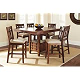 "Steve Silver Company Bolton Counter Height Dining Table with Storage, 48"" W x 48"" - 60"" L (with 12"" Butterfly Leaf) x 36"" H"