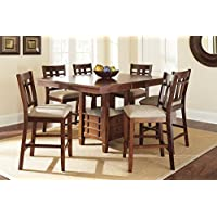 Steve Silver Company Bolton Counter Height Dining Table with Storage, 48W x 48 - 60L (with 12 Butterfly leaf) x 36H
