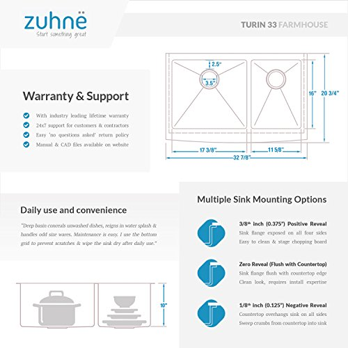 Zuhne 33 Inch Farmhouse Apron 60/40 Deep Double Bowl 16 Gauge Stainless Steel Luxury Kitchen Sink by Zuhne (Image #6)