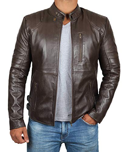 Leather Michigan Brown - Mens Brown Michigan Leather Jacket |M