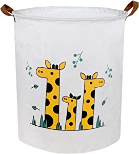 Sanjiaofen Large Storage Bins,Canvas Fabric Laundry Basket Collapsible Storage Baskets for Home,Office,Toy Organizer,Home Decor (Giraffes)