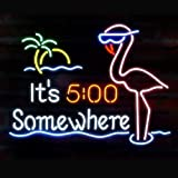 Urby Brand New 19'' It's 5 O'clock Somewhere Flamingo Neon Sign Beer Bar Pub Man Cave Business Glass Neon Lamp Light FE07