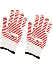 Revolutionary 932°F Extreme Heat Resistant EN407 Certified Heat Resistant Oven Gloves Hot Surface Handler Made from Nomex and Kevlar - Non-Slip Kitchen Silicone Gloves Five Fingers (Red(2 PCS))
