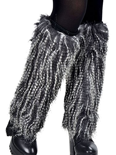 Simplicity Faux Fur Leg Warmers Boot Covers Boot Sleeves Warmers, 3300_Stripe (Pink Fluffies Leg Warmers)