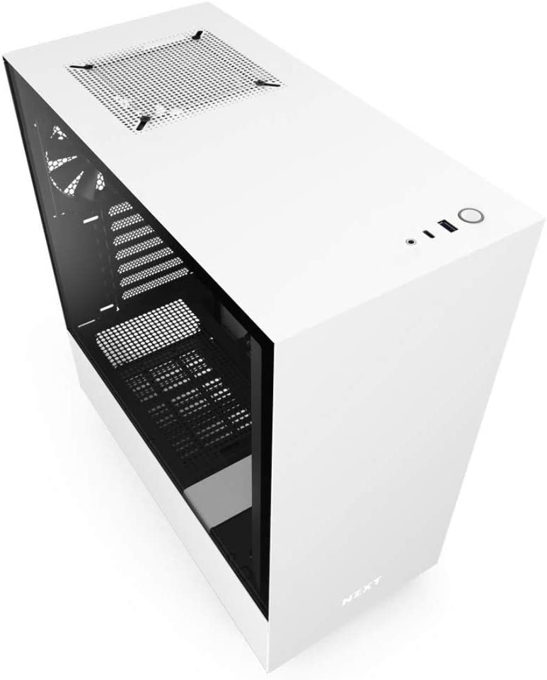 NZXT H510 - Compact ATX Mid-Tower PC Gaming Case - Front I/O USB Type-C Port - Tempered Glass Side Panel - Cable Management System - Water-Cooling Ready - Steel Construction - White/Black