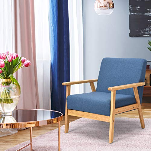 Giantex Mid-Century Modern Child Armchair w/Armrests, Sturdy & Durable Rubber Wood Club Chair w/Cushions, Wood Frame & Linen Arm Chair, Solid Wood Frame Low Lounge Armchair (Blue)