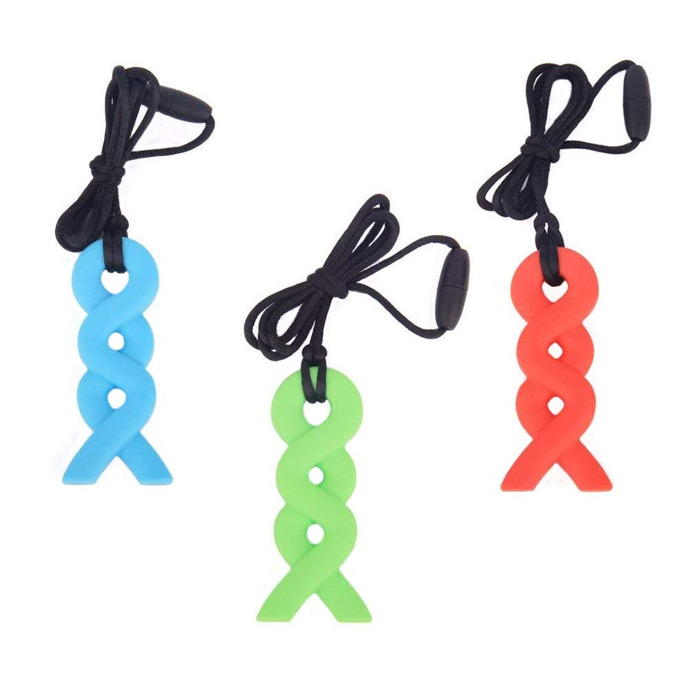 Autism Toddlers Teething Chew Necklace//Tube Toy Jewelry for Boys Girls Set of 3 14347468 Biting Silicone Chewies for ADHD SAKOLLA Sensory Chewing Necklace Adults