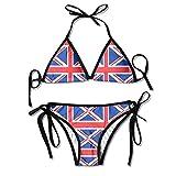 PEOTOUVY 3D Flower Print British Flag Custom Sexy Beach Swimwear Women's Triangle Bralette Bikini Black