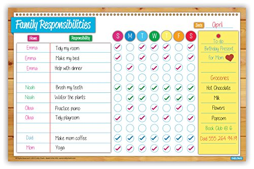 "Crafty Charts - Magnetic Family Responsibilities Chart Flexible Dry Erase Board for Fridge / Reusable / Multiple Kids / Chore Planner / Teaches Responsibility / Family Calendar / 11"" x 17"""