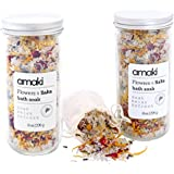Flowers & Salts Bath Soak Gift Set (2) 8oz Jar- Blend of Epsom and Dead Sea Salt - Infused with Lavender Essential Oil and Dried Rose Petals, Lavender, Calenlular and Chamomile Flowers.