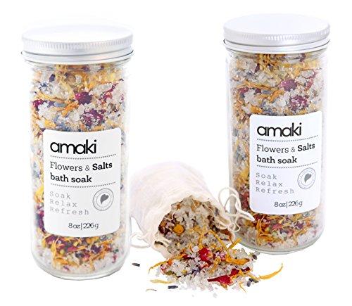 AMAKI-SKINCARE-Flowers-and-Salts-Bath-Soak-Set-with-Lavender-Essential-Oil-Dried-Rose-Petals-Lavender-Calenlular-and-Chamomile-Flowers-2-Pack-8-oz