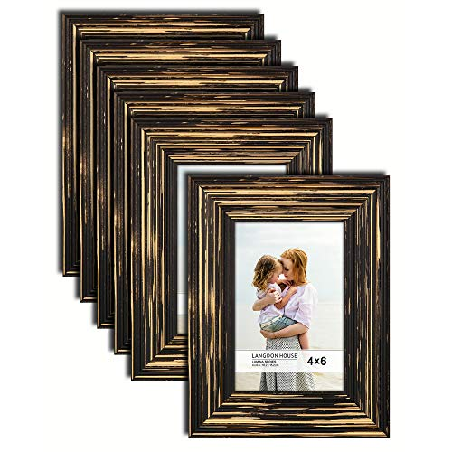 Langdon House 4x6 Real Wood Picture Frames (6 Pack, Barnwood Brown - Gold Accents), Brown Wooden Photo Frame 4 x 6, Wall Mount or Table Top, Set of 6 Lumina Collection