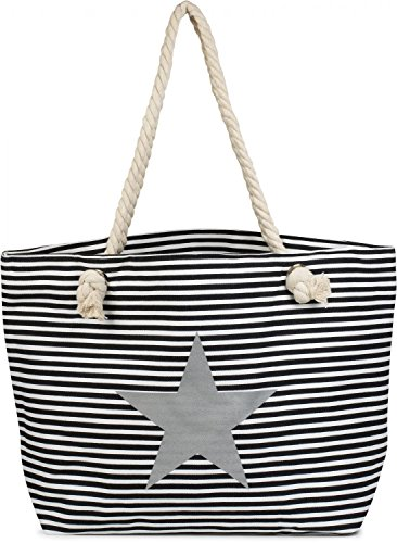 Stylebreaker Beach Bag For Optical Xxl Striped Pattern Star And Zipper Bag Shopping Bag, Bath, 02012165 Lady, Color: Blue-white Black-white / Silver / Silver