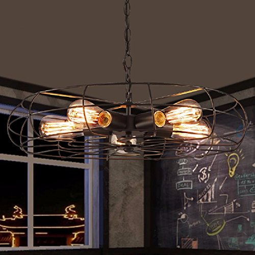 HQLCX Chandelier Retro Cafe Restaurant Bar Creative Industrial Wind Fan Pendant 55Cm by HQLCX-Chandeliers