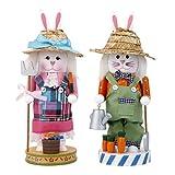 MonkeyJack Set of 2pcs Wooden Nutcracker Walnut Rabbit Couple Christmas Gift Home Decor