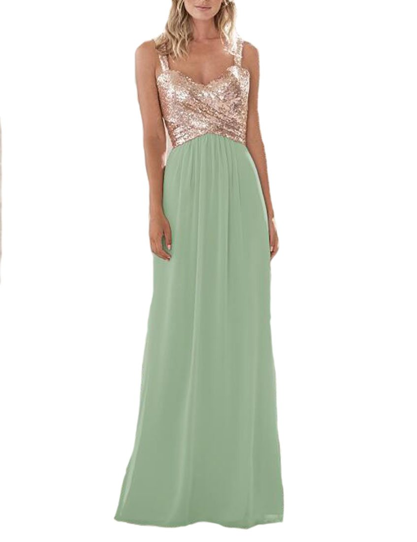 Lilyla Women S Rose Gold Sequined Long Short Bridesmaid Dress A Line Sweetheart Prom Dresses Sage Us6