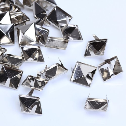 Garment Rivets - Fjs 100pcs 2 Prongs Pyramid Studs 12mm Silver Great Project - Belt Stomp Silver Back Studs Black Nail Earring Pyramid Gold White Leather Pink Snowboard Flat Screw