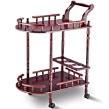 FDInspiration Cherry Rolling MDF Kitchen Serving Bar Cart Wood Trolley w/Wine Rack Stand