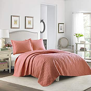 Amazon Com Laura Ashley Full Queen Coral Quilt Set Home