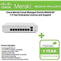 Cisco Meraki Cloud Managed Switch MS220-8P includes 5 Year Enterprise License