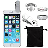 fish eye - XCSOURCE® clip 180 Degree Fish Eye Lens + Wide Angle + Micro Lens Kit for iPhone 4 4S 4G 5 5G 5S Samsung Galaxy S3 i9300 S4 i9500 cell phone (silver)