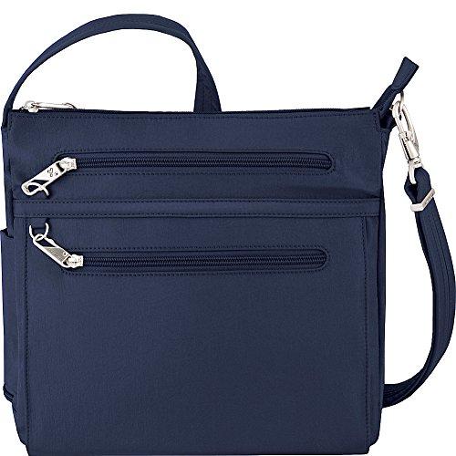 Travelon Anti-Theft Essential North/South Bag - Small Nylon Crossbody for Travel & Everyday - (Royal Blue/Gray Interior)