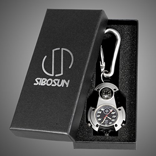 SIBOSUN Watch Company Mini Clip Microlight Nite Glow Luminous Clip on Pocket Watch Black by SIBOSUN (Image #6)