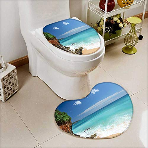 Analisahome Cushion Non-slip Toilet Mat Tropical beach with rocks and blue sea of Bali island,Indonesia with High Absorbency by Analisahome