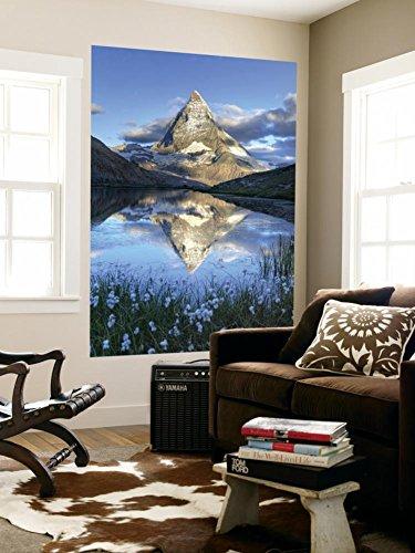 Switzerland, Valais, Zermatt, Matterhorn (Cervin) Peak and Riffel Lake Wall Mural by Michele Falzone 48 x - Images Zermatt