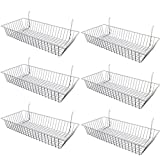 "Only Garment Racks White Wire Baskets for Gridwall, Slatwall or Pegboard - Merchandiser Baskets, Perfect For Commercial Use or Home Organization - White Wire Basket 24"" L x 12"" D x 4"" H (Set of 6)"