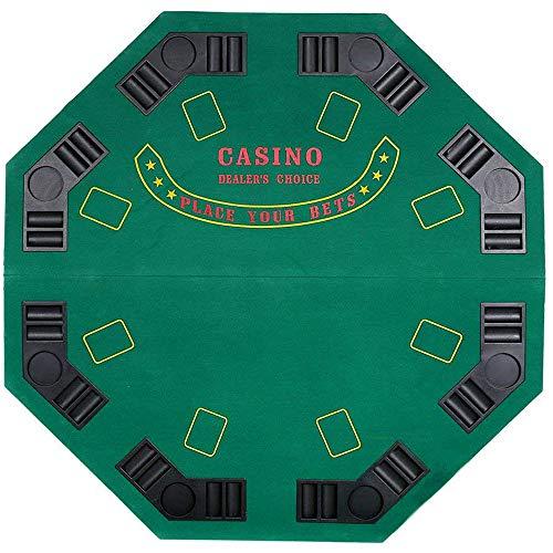 Livebest 8 Player Poker Table Top Octagon Folding Blackjack Table Topper Texas Holdem Cup Inserts,Green Felt 48